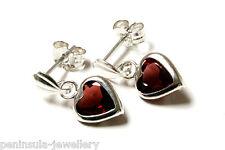 Sterling Silver Garnet Heart Drop Earrings Gift boxed Made in UK Christmas Xmas