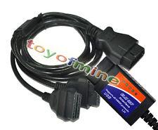 ELM327 OBD?USB Auto Scanner diagnostico + OBD2 Uomo dual Cavo di prolunga Female