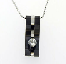 Drop Pendant in Stainless Steel Black with Floating CZ