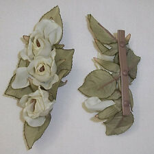 Creme 2x4 Rose Trio Bouquet Artificial Silk Flower Head Hair Clip Craft
