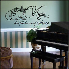 LARGE QUOTE MUSIC IS WINE FILL CUP SILENCE WALL STICKER VINYL DECAL TRANSFER