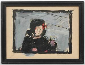 "Irina Soboleva (b.1920), ""Portrait of the Daughter"", Watercolor, 1958"