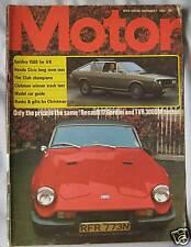 Motor magazine 7/12/1974 featuring TVR 3000M road test, Renault 17 Gordini
