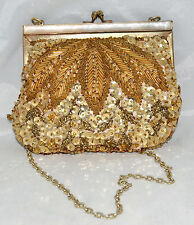Vintage Partners Gold Beaded MOP & Sequined Evening Bag with Fold In Chain Strap
