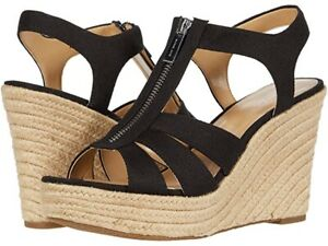 NIB Michael Kors Berkley Weave Canvas Espadrille Wedge Sandals Black Size 8