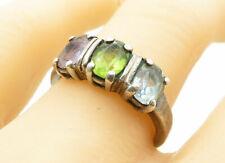 Amethyst Band Ring Sz 8 - R12137 925 Silver - Vintage Aquamarine Peridot &