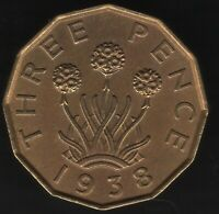 1938 George VI Nickel-Brass Threepence Coin | British Coins | Pennies2Pounds