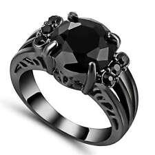 Size 7 Black Zircon Crystal Cross Ring Black Rhodium Plated Wedding Jewelry