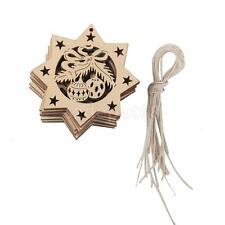 10pc Wooden Laser Cut Gift Tag Christmas Tree Hanging Decor Blank Star Snowflake