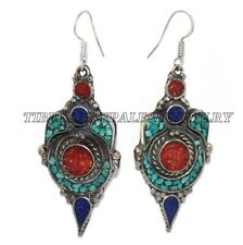Turquoise Earring Tribal Earring Lapis Earring Coral Earring Silver Earring Boho