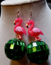PINK FLAMINGO 70s & 80s EARRINGS 925 sterling Hooks Green DISCO BALL Handcrafted