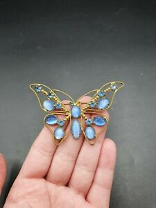 Vintage Antique 1930s Czech Blue Glass Butterfly Brooch