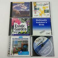 6 Software PC CD's Travel Europe, Denali, Audubon's Birds, Exotic Garden, Family