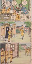 Guerre 39-45 WW2 JAPON Propagande 3 cartes militaires humoristiques style Manga