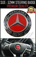 For Mercedes Benz  Steering Wheel Badge Emblem Trim Red Black 52mm