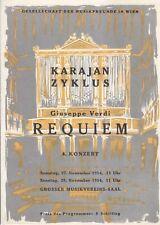 Concert Programme 1954 Herbert von Karajan Verdi Requiem  Vienna Musikverein