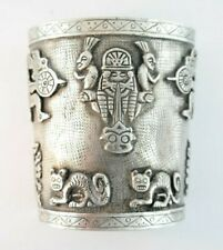 Vintage Pre-Columbian Inspired Wide Silver Cuff Bracelet Stamped 900 Signed