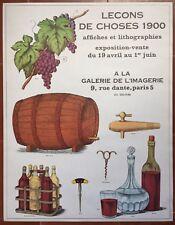 Affiche Exposition LECONS DE CHOSES 1900 Vin Oenologie Galerie de l'Imagerie *
