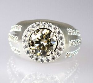New Year's Offer Champagne Diamond Solitaire Men's Halo Ring 4.06 Ct Round Cut