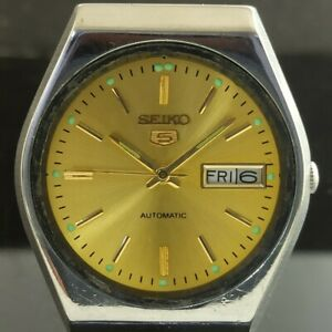 OLD VINTAGE SEIKO 5 AUTOMATIC 6319A JAPAN MENS DAY/DATE WATCH 474c-a239512-9