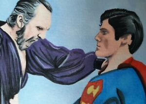 Original Superman 2 Superman and villain Zod aceo sketch card drawing