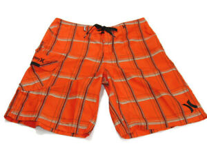 Hurley Trunks Orange Black Gray Plaid Puerto Rico Boardshorts Pocket Mens 31