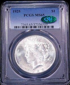 1925 P Peace Dollar PCGS MS65 CAC Blast White Superb Frosty Luster, PPQ #GC14