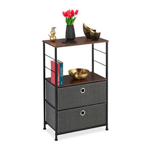 Dresser with 2 Grey Drawers, Chest of Drawers, Side Stand, Shelving Unit