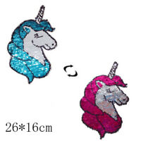 Reversible Change Color Sequins Sew On Patches For Clothes DIY Craft uW