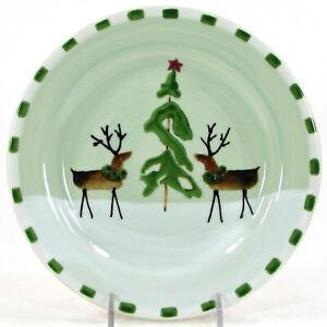 "Hartstone Pottery REINDEER TRADITIONS 8"" Dessert Salad Plate Christmas Tree Mint"
