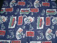 Vtg 70s Retro Cartoon Style Kids Racing Cars Quilt Sew Cotton Fabric 46x43#pb