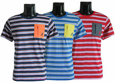 Men's Boys Striped T-Shirts Causal Polycotton Zip Pocket Tops S to 2XL Clearacne