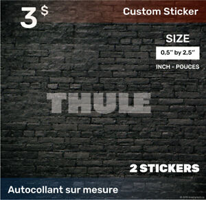 0,5 by 2,5  inch Sticker Decal (Compatible THULE) 2x white