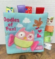 JJOVCE Oodles Of Fun Owl Cloth Soft Book Taggies Crinkle Squeaks Toy Lovey