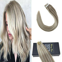 Sunny 20pcs Tape in Human Hair Extensions Remy Highlight Blonde 14/60# 50gr