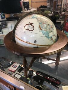Old Vintage 12 Inch Replogle Globe World Classic Series with Wood Stand #19096