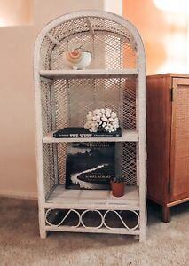 Vintage Mid Century Modern Bohemian Woven Wicker Arched Shelf in White
