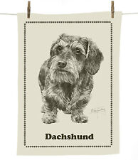 Mike Sibley Wire hair Dachshund dog breed cotton tea towel - dog lover gift