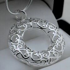 "925 Silver Eternity Circle of Life Heart Pendant with 18"" Snake Necklace - 55"