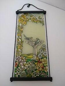 Joan Baker Designs Bird Bath w/ Poem Stained-Glass Style Sun Catcher Art Panel