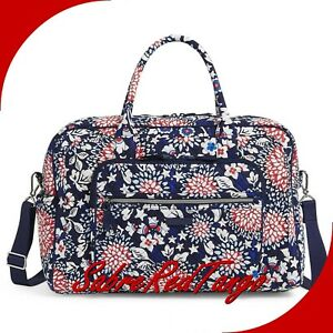 NWT VERA BRADLEY QUILTED ICONIC WEEKENDER TRAVEL BAG RED WHITE BLOSSOMS