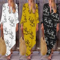 ZANZEA 8-24 Women Full Length Floral Printed Bohemian Dress Kaftan Caftan Abaya