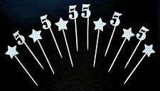 12 Cupcake Toppers 5th 55th Birthday Party Cake Decor Silver Pearl Number 5 Five