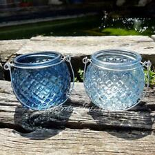 Set of 2 Small Blue Nautical Inspired Diamond Cut Glass Candle Lanterns