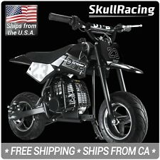 SkullRacing Gas Powered Kids Mini Pocket Dirt Bike Motorcycle (Black)