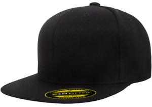 6210 New Flexfit Premium Flatbill Fiited Baseball Cap 210 Flat Bill Hat Black