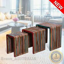 Nested Coffee Tables 3 Set Side Nest of Table Living Room Nesting Reclaimed Teak