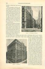 Immeuble la Rookery Chambre de Commerce Chicago GRAVURE ANTIQUE OLD PRINT 1892