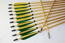 Handmade 12PCS Green Yellow Turkey Feather Wood Arrows 11/32 Archery For Recurve
