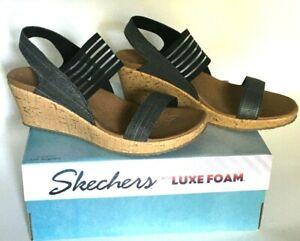 Women Sz 10 Skechers Luxe Foam Beverlee Smitten Kitten Black 38527 Wedge Sandals